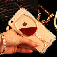 For iPhone 7 For iPhone 4 4S 5 5S SE 5C 6 6S 7 Plus Liquid Quicksand Red Wine Transparent Phone Case Hard PC Back Cover