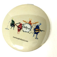 """Beetles/ Beatles Classic Rock Band Watercolor Painting Pin Back Button, Oldies Band Artist Print Pin On Button, 3"""" Pinback Beatles Accessory"""