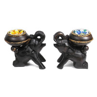 Two Elephants Carved Rain Tree Wooden Candle Holder Set (Thailand)