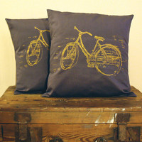 Bicycle Pillow Cover 16x16 by boomerang360 on Etsy