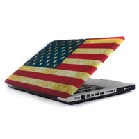 """GMYLE (TM) Vintage US United States Flag Rubber Coating Hard Shell Carrying Case Cover for Macbook Pro 13"""" 13 inches with Black bottom case (Not Fit For Macbook Pro 13 with Retina Display)"""