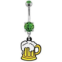 Beer Mug Belly Button Ring