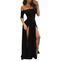 FEITONG Woman with short sleeves and long dress Women Sexy Formal Dress Party Evening Long Dress#LRSW