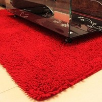 Nicedeco Comfortable Rug Approx. 15.74X23.62inches(40*60cm )Fiber Wholesales Price Color Red Flexible/Soft/Smooth Carpet/Mat/Rug Suitable For Stairway/Toilet/Study/Floor/Bedroom/Living Room/Bathroom/Kitchen/Home Decoration/Area