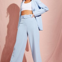 Wide Leg Belted High Waisted Trouser | Boohoo