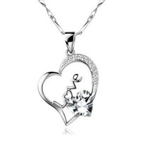 18K White Gold Plated Love and Heart White Crystal Pendant Necklace
