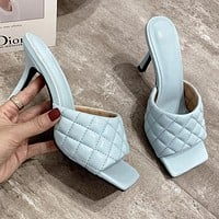 New Sexy Diamond Square Head Peep Toe High Heel Slippers Fashion Slip On Thin Heels Slides Women