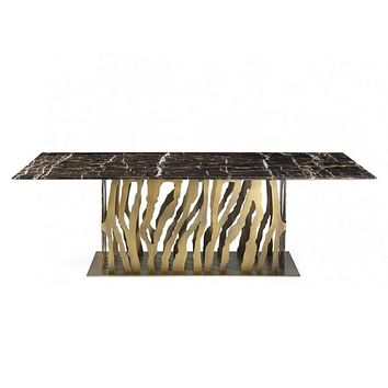 Golden Shine Wide Dining Table With Unique Metal Base