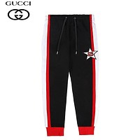 GUCCI Fashion New Embroidery Letter Star Women Men Pants Black