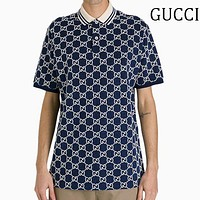 GUCC Popular Men Women Casual Print Short Sleeve Polo Shirt Top