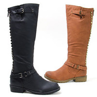 New Women's Knee High Boot Studded Faux Leather Round Toe Block Heel Boots