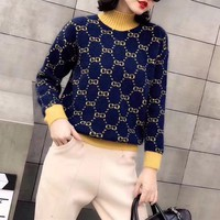 """""""Gucci"""" Women Casual Fashion Multicolor Knit Letter Logo Long Sleeve Turtleneck Pullover Rabbit Hair Sweater Tops"""