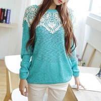 Sweet Turquoise Sweater With Big Lace Flower Neck