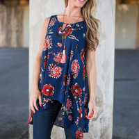 Fall Into Floral Tank, Navy