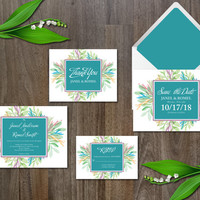 Wedding Invitation Suite Digital & Instant Download Printable Templates - colorful flowers watercolor