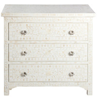 Floral White Bone Inlay Chest