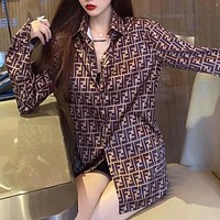 FENDI new letter long-sleeved loose fashion shirt jacket full of LOGO printing all-match casual shirt