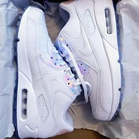 NIKE AIR MAX 90 fashion ladies men running sports shoes sneakers F-PS-XSDZBSH All white +Laser