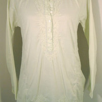 J.Crew Tunic S Small cotton embroidered top long sleeve light green