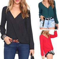 Summer Casual Chiffon Shirts Sexy Deep V-Neck Women Blouses Black White Red Long Sleeve Solid Tops Plus Size Loose Blusas = 1695687876