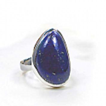 Sterling Silver and Lapis Lazuli Abstract Ring