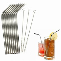 2016 Whoelsale Eco Friendly 8Pcs Stainless Steel Metal Drinking Straw Reusable Straws + 3 Cleaner Brush Set New