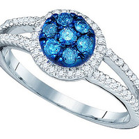 Blue Diamond Fashion Ring in 10k White Gold 0.48 ctw