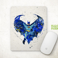 Batman Mouse Pad, Superhero Watercolor Art, Mousepad, Office Decor, Gift, Art Print, Desk Deco, Computer Mouse, Batman Accessories