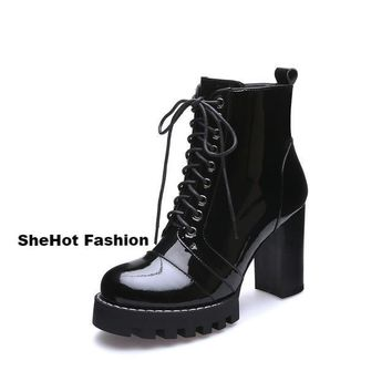 Women Casual Patent Leather Lace-Up Round Toe Ankle Boots