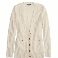 AEO Factory Cable Knit Cardigan, Oatmeal Heather | American Eagle Outfitters