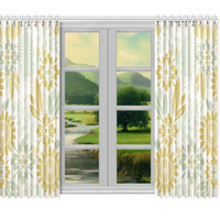 """Window curtains - 2 pieces, 104"""" wide, Variable Length, Home, Decor, Bedroom, Kitchen, Style, Sage, Green, Beige, Designer, Abstract, Modern"""