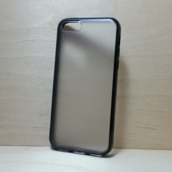iPhone 5C Case Silicone Bumper and Translucent Frosted Hard Plastic Back - Black
