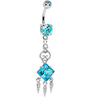 Aqua Gem Clear Gem Icicles Curlicue Chandelier Belly Ring | Body Candy Body Jewelry