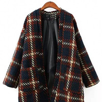 Plaid Coat with Pocket