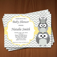 Owl Baby Shower Invitation Baby Shower invitations Printable Baby Shower Invite -FREE Thank You Card - editable pdf Download yellow 542