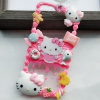 New For Huawei P20pro DIY case 3D hello kitty clear phone cover for huawei nove3E /P20 plus handmade cake candy case girl gift