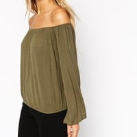 ASOS TALL Off Shoulder Top In Slouchy Fabric