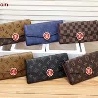 """Louis Vuitton"" Women Multicolor Classic Retro Print Long Section Purse Button Flip Wallet"