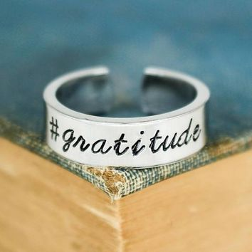 Hashtag Gratitude Ring - Adjustable Aluminum Cuff Ring - Silver Ring - Religious Ring - Hand Stamped Ring