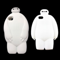 1pcs/lot Lovely 3D Cartoon Big Hero 6 Baymax Soft Silicone Cover Case For iPhone 4 4S 5 5S 6 & 6 plus