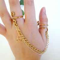 Legend of Zelda Double Chain Ring with Golden by GuiltyGeeks