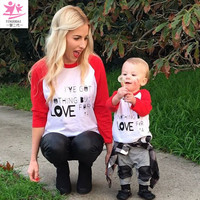 Family Matching Outfits 2017 Red and white Patchwork Long sleeve Mother & baby Son daughter T-Shirts mommy and me clothes Cute