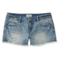 Destroyed Light Wash Denim Shorty Shorts