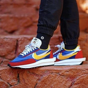 Sacai X Nike LDV WAFFLE joint deconstruction double-layer sole running shoes