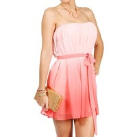 Alana-Coral Ombre Strapless Dress