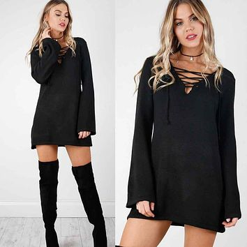 Fashion Knitted Sweater Vestidos Robe Femme Women Sexy Bandage V-neck Autum Winter 2016 Solid Long Sleeve Bottoming Mini Dresses