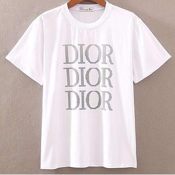 DIOR 2019 early spring new tide brand letter LOGO printing casual round neck half sleeve T-shirt white