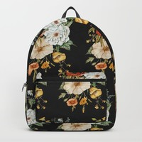 Wildflower Bouquet on Charcoal Backpack by shealeenlouise