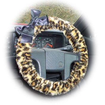 Leopard print fuzzy steering wheel cover with Black satin Bow