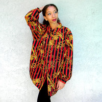 The CLUELESS Blouse, Vintage 90s Red and Black Striped Graphic Art Button Up Shirt w Gold Chain Design, Old School Hip Hop XL XXL Plus Sized
